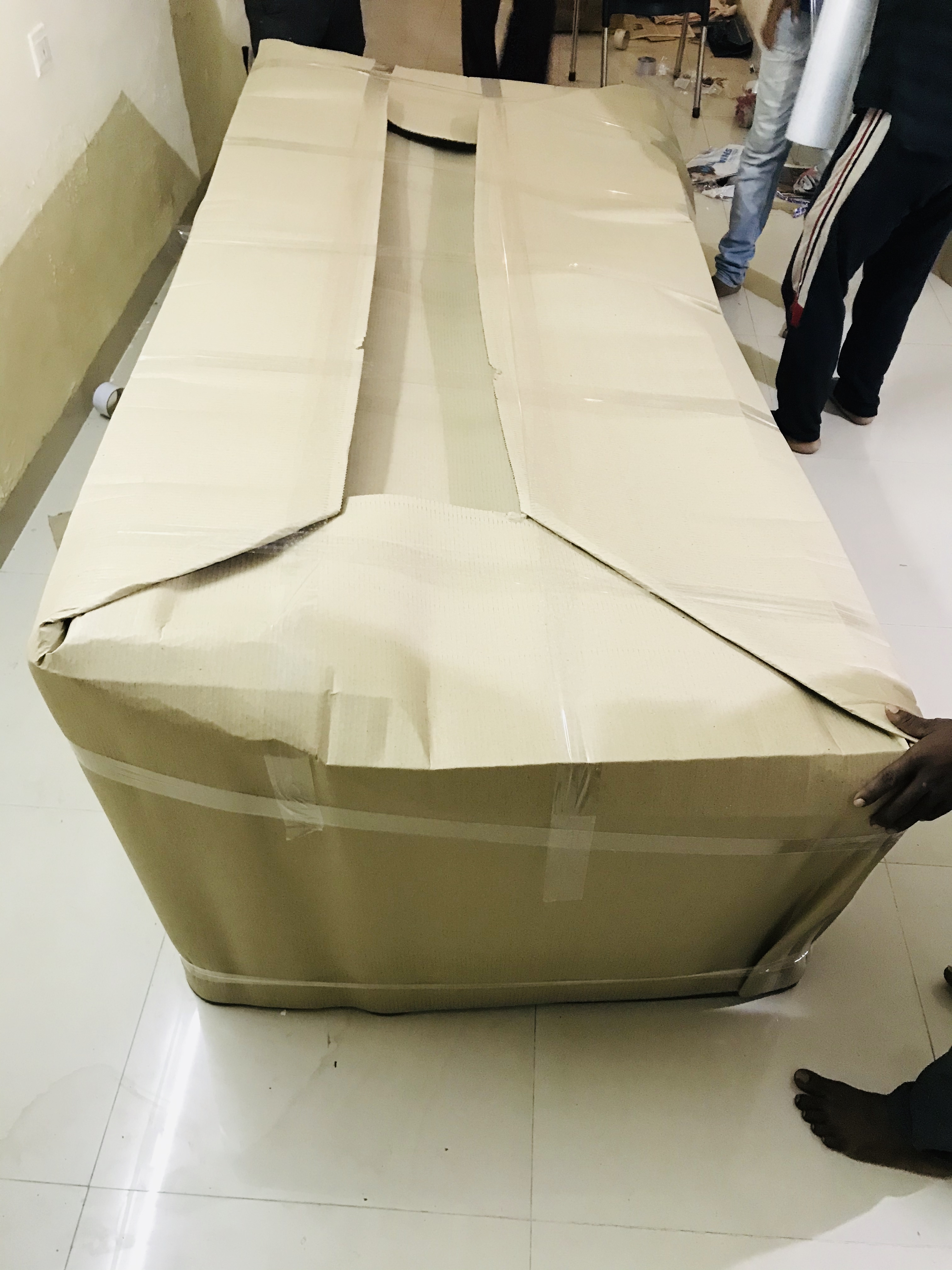 Sofa Packed With FoamSheet, Air Bubble Brown Sheet, Lamination, Tape